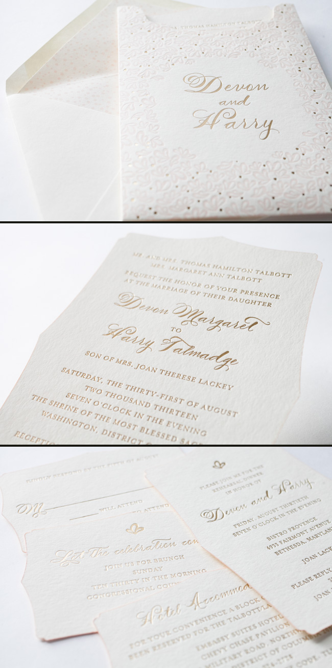 Stunning Wedding Invitation Suite in Gold Matte and Pearl