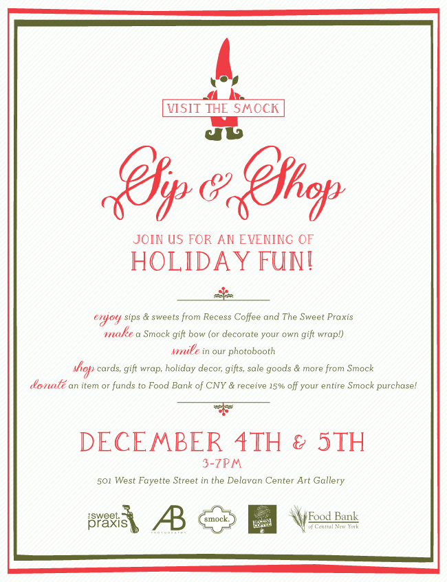 Smock's 2nd annual sip & shop will collection donations for Food Bank of CNY