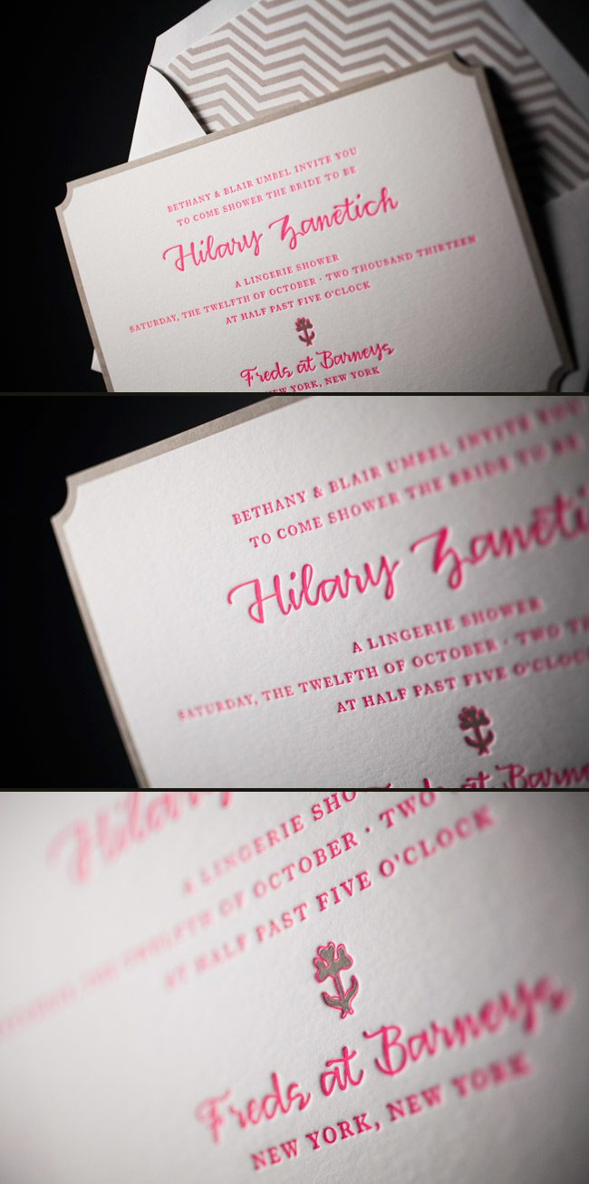 Chevron Letterpress Bridal Shower Invitations
