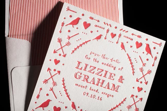 Cimarron letterpress save the dates + lined envelopes from Smock