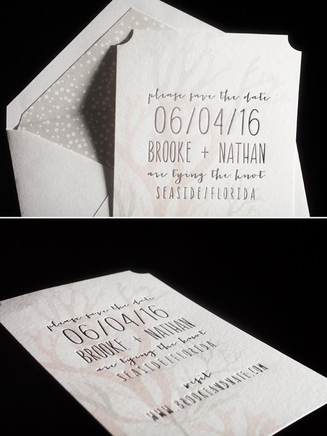 Midi digitally printed + foil stamped save the dates + lined envelopes from Smock