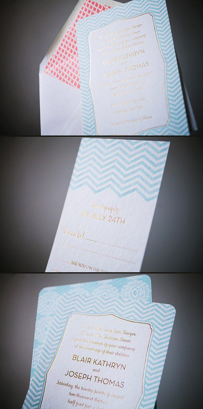 Vibrant glacier + gold foil stamped wedding invitations ...
