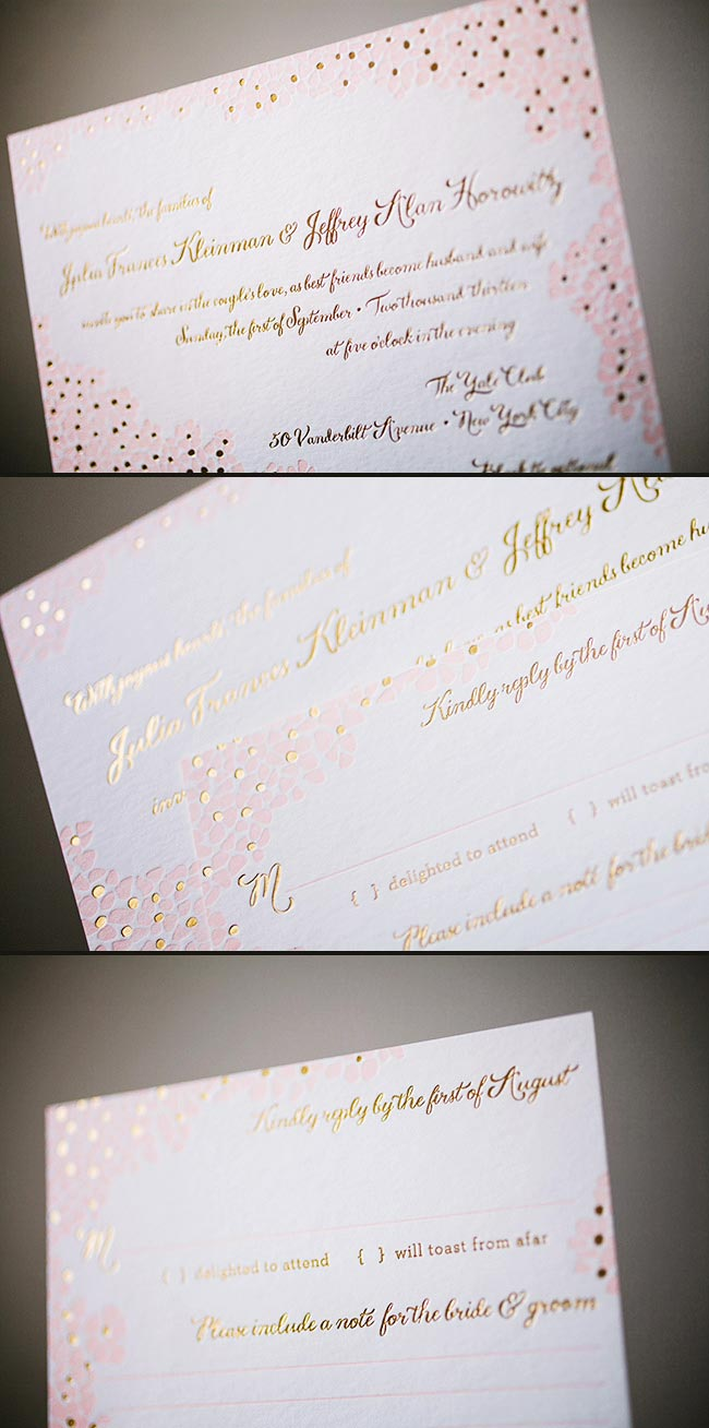 Delicate floral letterpress + foil stamped wedding invitations printed in pale pink + gold foil featuring Smock's Keira design