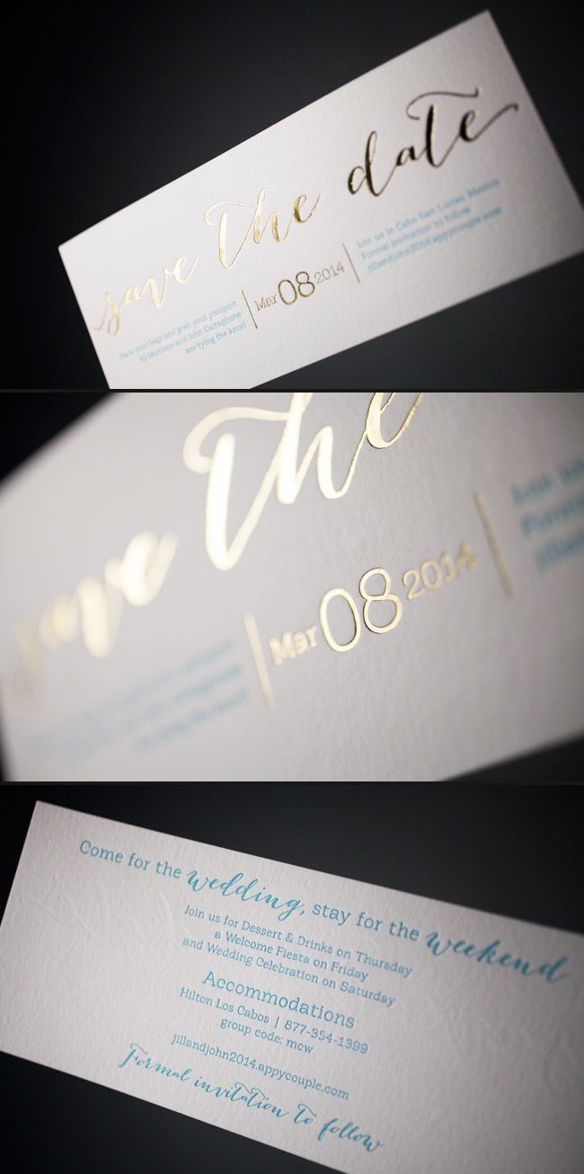 Custom Rainier letterpress + foil stamped save the dates from Smock