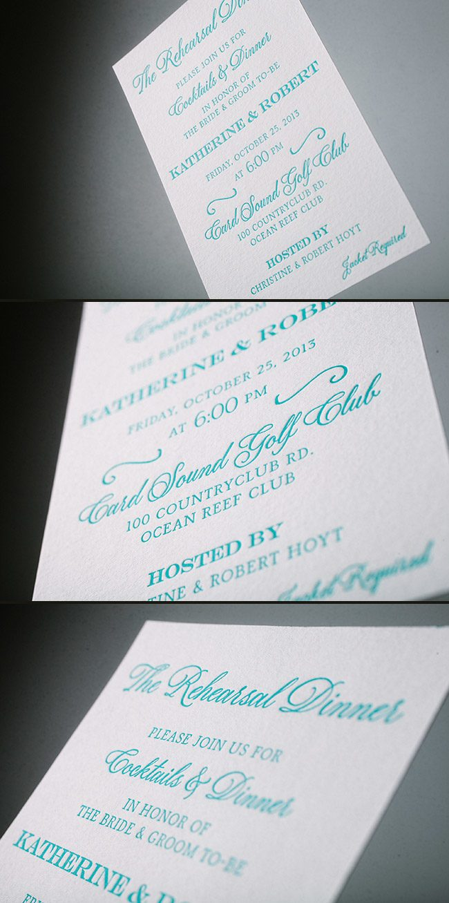 Simple letterpress rehearsal dinner invitations