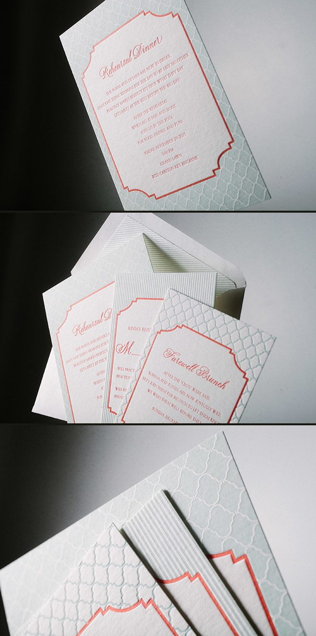 Custom letterpress rehearsal dinner and brunch invitations from Smock