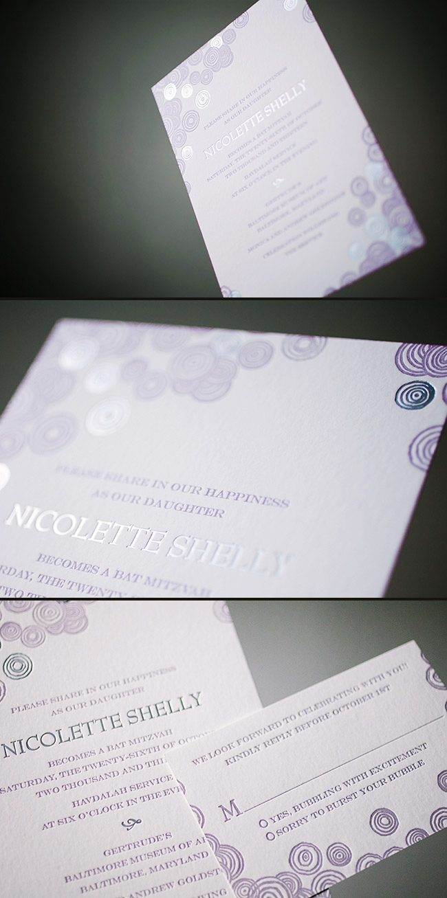 Custom bubbling Bat Mitzvah invitations from Smock