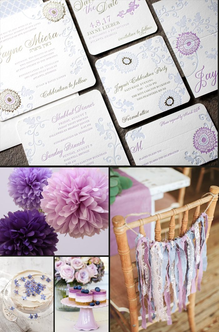 Elegant + feminine Finley Bat Mitzvah invitations + party inspiration from Smock