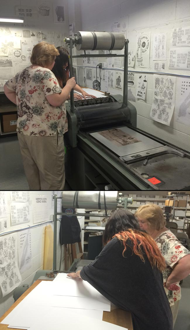 Jessica from Annie P. Paperie visited Smock + Boxcar Press this week!