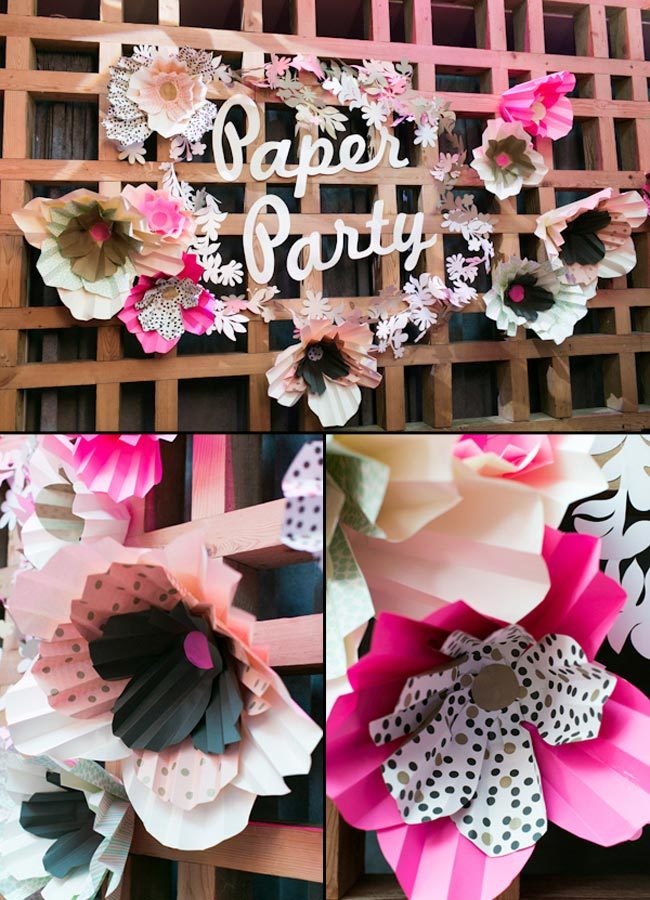 2014 Paper Party with giant Smock gift wrap flower decor