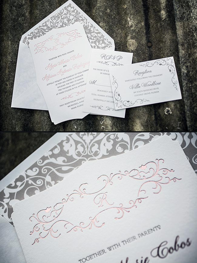Elegant rose gold wedding invitations from Smock