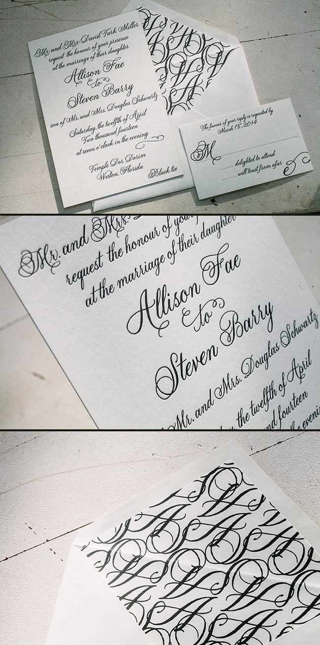 Classic black & white Fitzroy letterpress invitations from Smock
