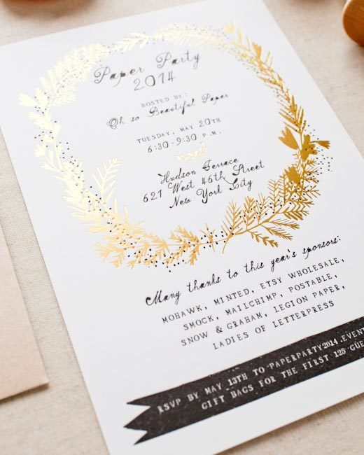 2014 Paper Party Invitations - designed by Mr. Boddington's studio, printed by Smock on Mohawk paper for Oh So Beautiful Paper