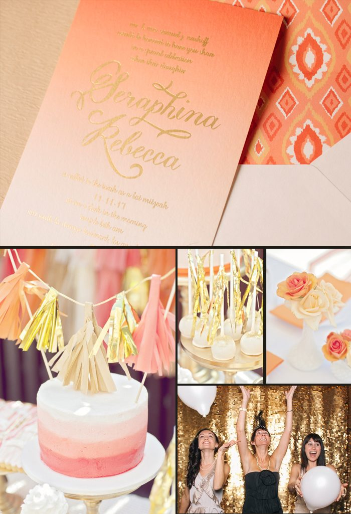 Ombre + gold foil Amira Bat Mitzvah invitations + party ideas from Smock