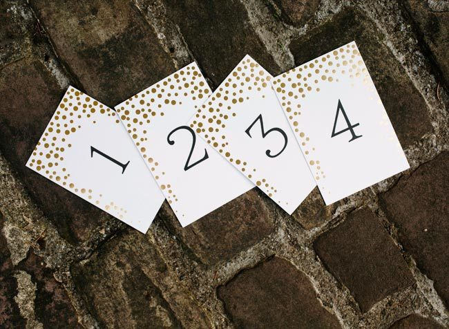 Gold foil Dots numbered table cards from Smock