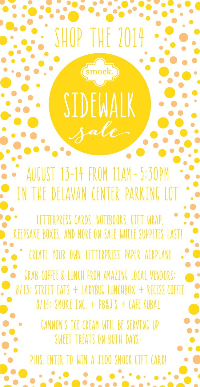 Visit Smock's 2014 Sidewalk Sale! 11am-5:30pm on August 13 & 14