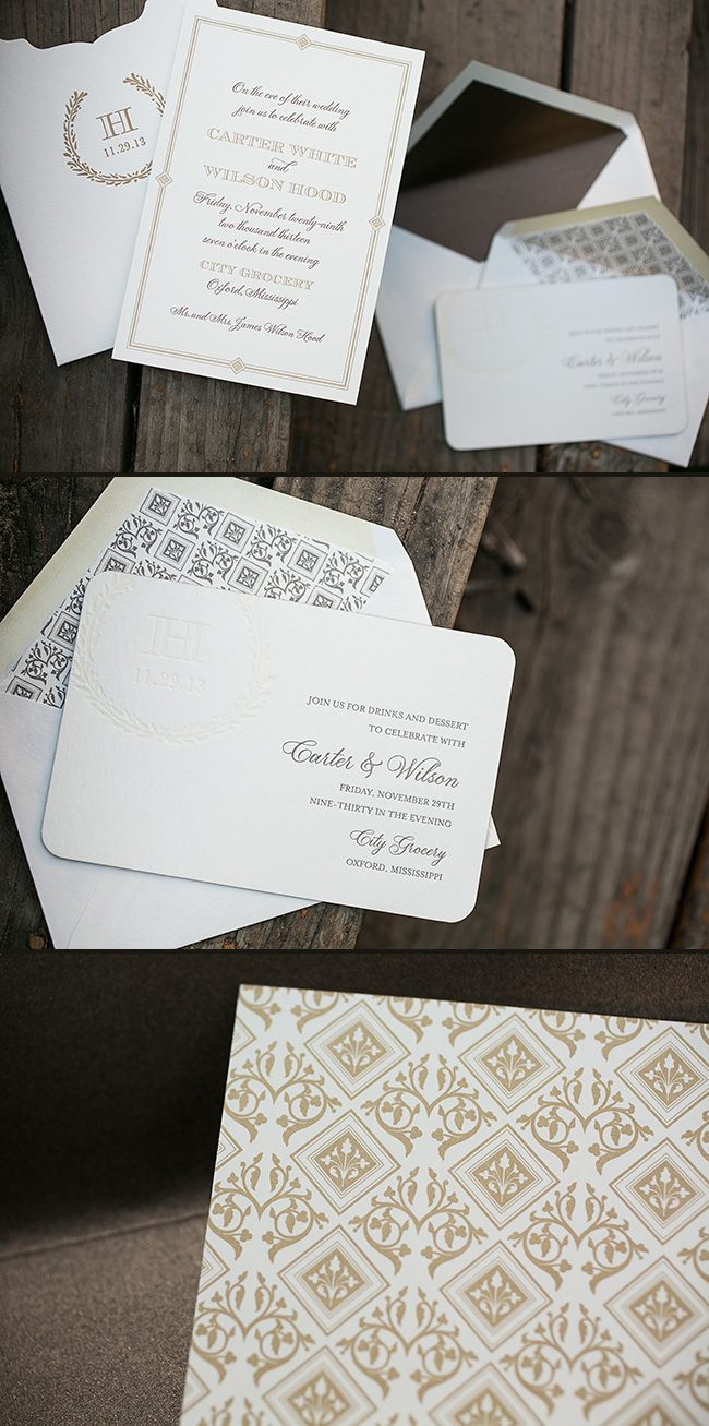 Letterpress rehearsal dinner invitations from Smock