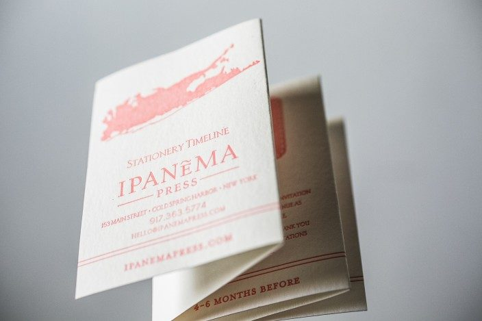 Letterpress Wedding Stationery timeline cards for Ipanema Press
